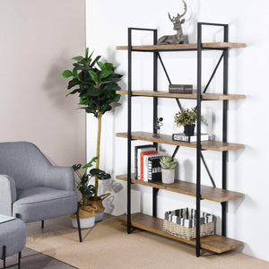 Framodo 5-Shelf Open Vintage Industrial Bookshelf, Rustic Wood and Metal 5-Tier Bookcase for Home Office Organizer and Display Shelves