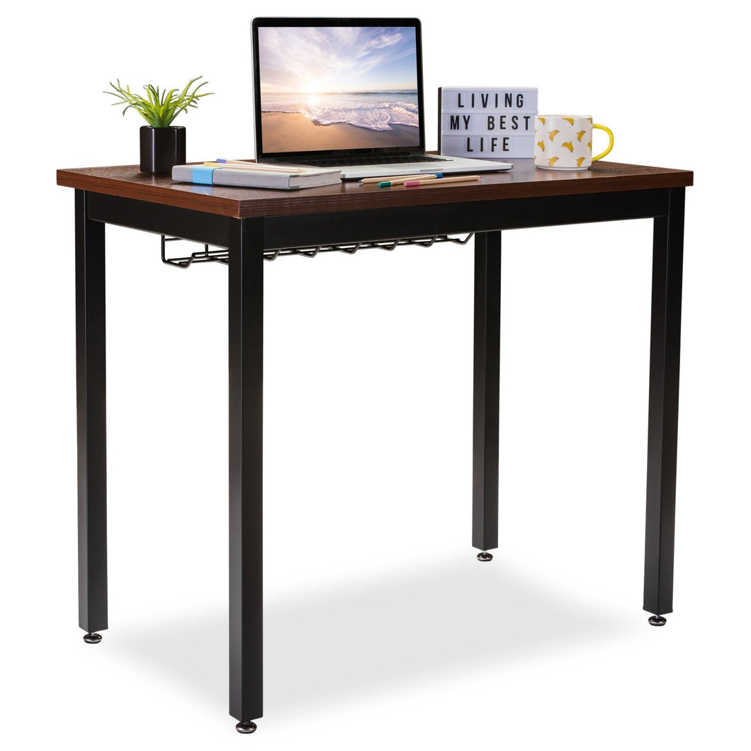 Cheap small computer desk for home office 36 length table w cable organizer sturdy and heavy duty writing desk for small spaces and students laptop use damage free promise teak
