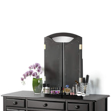Load image into Gallery viewer, Explore harper bright designs vanity set with 5 drawers make up vanity table make up dressing table desk vanity with mirror and cushioned stool for women girls black