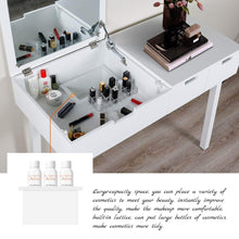 Load image into Gallery viewer, Save vanity beauty station dresing table vanity set with flip top mirror 1 large organization 2 drawers makeup dresser writing desk white flip mirror