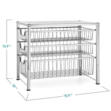 Load image into Gallery viewer, Purchase bextsware cabinet basket organizer with 3 tier wire grid sliding drawer multi function stackable mesh storage organizer for kitchen counter desktop bathroom under sinkchrome