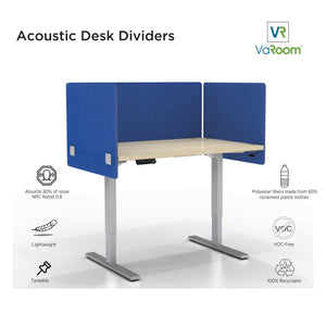 Latest varoom acoustic partition sound absorbing desk divider kit 1 60 w x 24h back panel 2 30w x 24h side panels privacy desk mounted cubicle panels cobalt blue