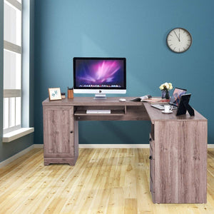 Top rated tangkula 66 66 l shaped desk corner computer desk with drawers and storage shelf home office desk sturdy and space saving writing table grey
