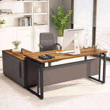 Load image into Gallery viewer, Try little tree l shaped computer desk 55 executive desk business furniture with 39 file cabinet storage mobile printer filing stand for office dark walnut