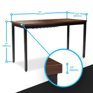 Home computer desk for home office 55 length table w cable organizer sturdy and heavy duty writing desk for small spaces and students laptop use damage free promise teak