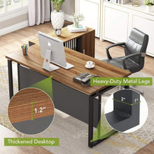 Load image into Gallery viewer, Budget friendly little tree l shaped computer desk 55 executive desk business furniture with 39 file cabinet storage mobile printer filing stand for office dark walnut