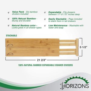 Discover the best horizons adjustable stackable 100 eco friendly bamboo drawers set of 6 kitchen drawer desk dresser bathroom divide organize
