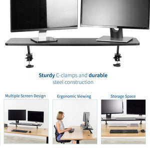 Purchase vivo black clamp on large 40 inch ergonomic desk shelf dual computer monitor and laptop riser stand desk organizer for 2 screens stand shelf40b