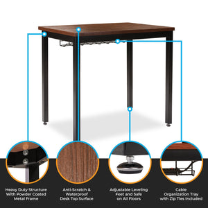 Discover the best small computer desk for home office 36 length table w cable organizer sturdy and heavy duty writing desk for small spaces and students laptop use damage free promise teak