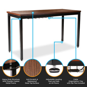 Latest computer desk for home office 55 length table w cable organizer sturdy and heavy duty writing desk for small spaces and students laptop use damage free promise teak