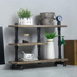 Purchase mbqq 3 tier industrial pipe wood shelf desk organizer 24 office organization and storage shelf desktop display shelves flower stand kitchen shelf countertop bookcase desktop racks