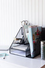 Load image into Gallery viewer, Storage blu monaco black wire mesh desk organizer vertical file organizer letter tray inbox organizer all in one office desktop organizer black metal mesh