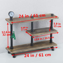 Load image into Gallery viewer, Organize with mbqq 3 tier industrial pipe wood shelf desk organizer 24 office organization and storage shelf desktop display shelves flower stand kitchen shelf countertop bookcase desktop racks