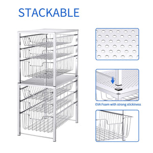 Home simple trending 3 tier under sink cabinet organizer with sliding storage drawer desktop organizer for kitchen bathroom office stackbale chrome