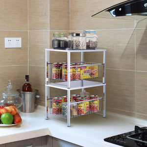 Great simple trending under sink cabinet organizer with sliding storage drawer desktop organizer for kitchen bathroom office stackbale chrome