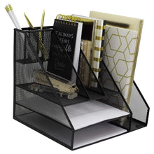 Load image into Gallery viewer, Select nice blu monaco black wire mesh desk organizer vertical file organizer letter tray inbox organizer all in one office desktop organizer black metal mesh