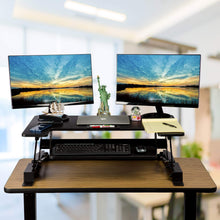 Load image into Gallery viewer, Order now smart art height adjustable sit to stand computer desk standing desk riser workstation standing table converter with 36 in x 22 in tabletop black