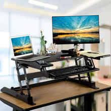 Load image into Gallery viewer, Home smart art height adjustable sit to stand computer desk standing desk riser workstation standing table converter with 36 in x 22 in tabletop black