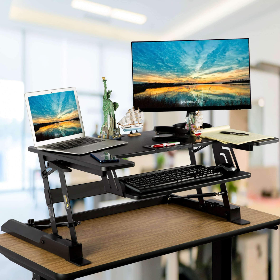 Home smart art height adjustable sit to stand computer desk standing desk riser workstation standing table converter with 36 in x 22 in tabletop black