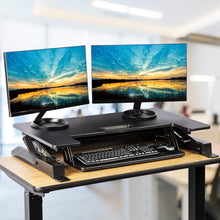 Load image into Gallery viewer, Online shopping smart art height adjustable sit to stand computer desk standing desk riser workstation standing table converter with 36 in x 22 in tabletop black
