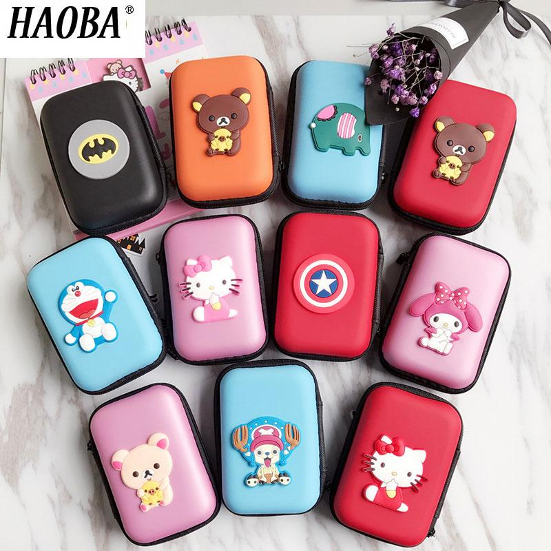 HAOBA Mini Cartoon Earphone Storage Bag Case For Headphone Key Coin Hard Holder Box Carrying Hard