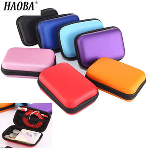 HAOBA Zipper Hard Earphone Case EVA Leather Headphone Storage Bag Protective Usb Cable Organizer