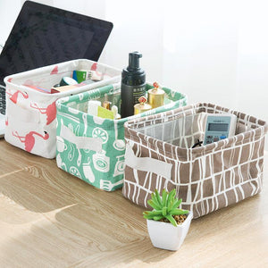 Desktop Storage Basket Cute Printing Waterproof Organizer