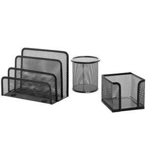 3 Piece Black Metal Wire Mesh Office Desktop Organizer w/Memo Holder, Pencil Cup & Mail Sorter - MyGift (FBA_TB-OFC0107BLK)