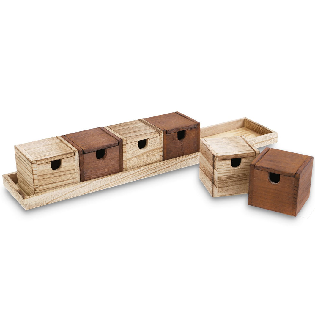 Wooden Multipurpose Desktop Organizer Box with Lid, 6 Boxes with a Tray