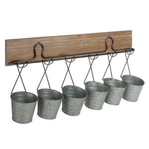 Pailey Rustic Farmhouse 6 Mini Bucket Wall Storage
