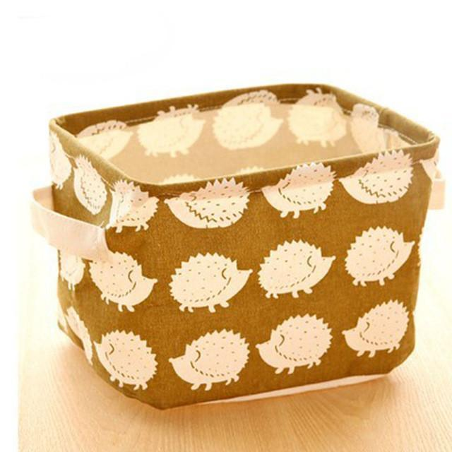 Cute Printing Cotton Linen Desktop Storage Organizer Sundries Storage Box Cabinet Underwear Storage Basket Fast
