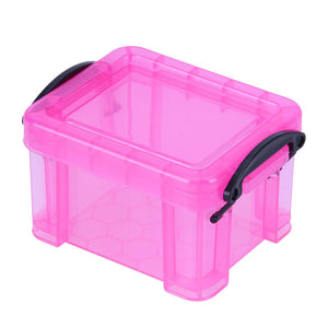 1Pc Storage Box Plastic Mini Lock Boxes Super Cute Storage Desk Organizer Home Furnishing Trumpet Container Pink