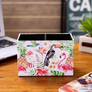 LINKWELL Fashion Tropical Life Pink Flamingo Toucan Green Leaf Pineapple PU leather Pencil Pen Holder Desk Organizer Storage Box