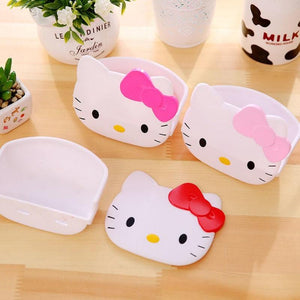 1 Pcs Creative Cartoon Hello Kitty Desktop Stationery Soap Storage Box Cute Cat Multi-functional Small Glasses Storage Rack
