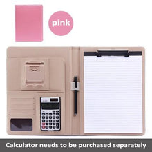 Load image into Gallery viewer, A4 PU Leather Folder Padfolio job executive Multi-function Office Organizer Planner Notebook School Office Folder for Documents