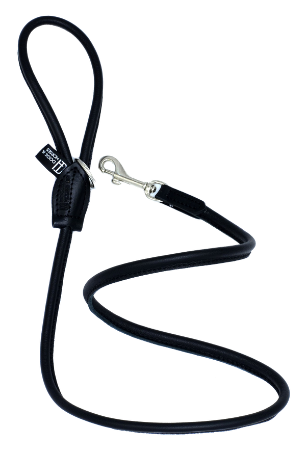 D&H Black Rolled Leather Lead with silver