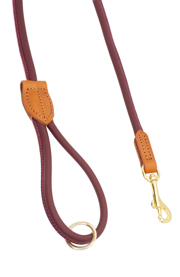 D&H Burgundy Rolled Leather Lead