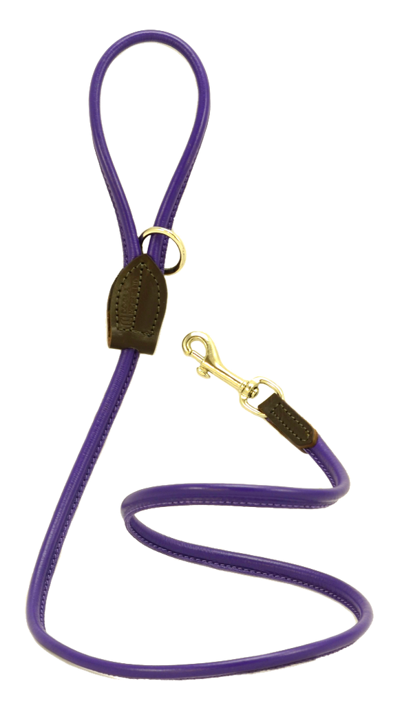 D&H Purple Rolled Leather Lead