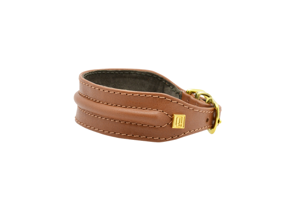 D&H Tan Horizon Hound Collar with a Golden Buckle