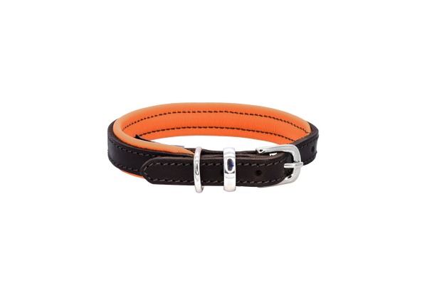 D&H Brown-Orange Padded Leather Dog Collar