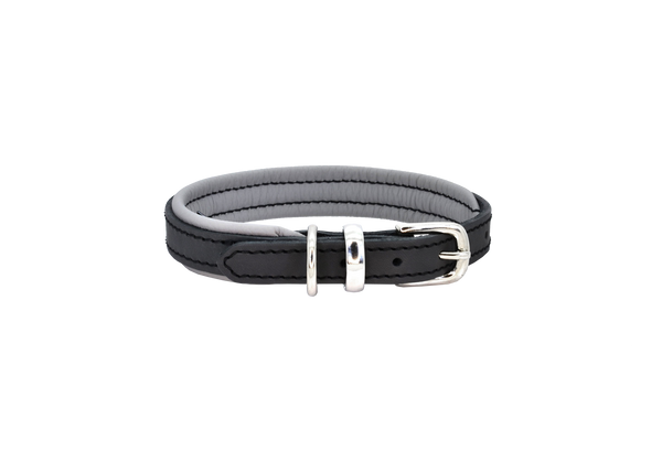 D&H Charcoal-Grey Padded Leather Dog Collar