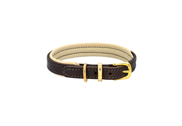 D&H Brown-Cream Padded Leather Dog Collar
