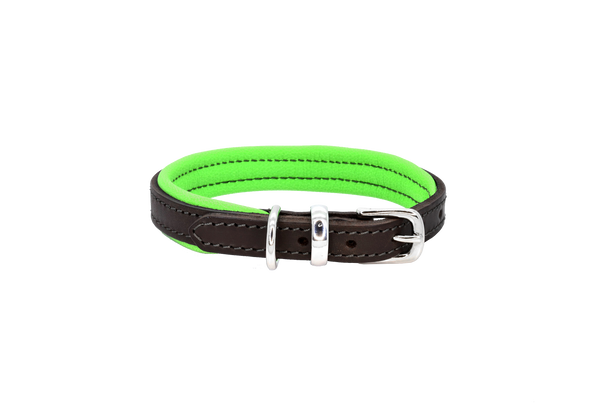 D&H Brown-Green Padded Leather Dog Collar