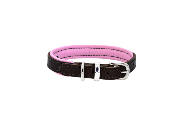 D&H Brown-Pink Padded Leather Dog Collar