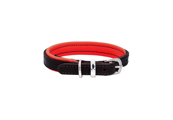 D&H Brown-Red Padded Leather Dog Collar