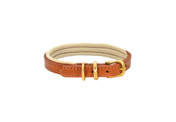 D&H Tan-Cream Padded Leather Dog Collar