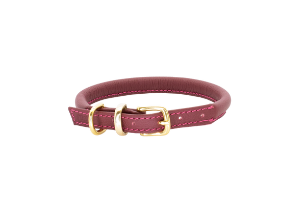 D&H Burgundy Rolled Leather Dog Collar