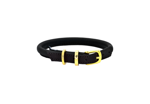 D&H Black Rolled Leather Dog Collar with Brass Buckle