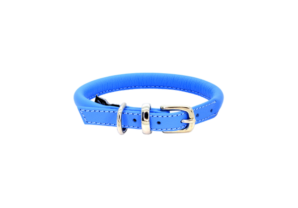D&H Blue Rolled Leather Dog Collar