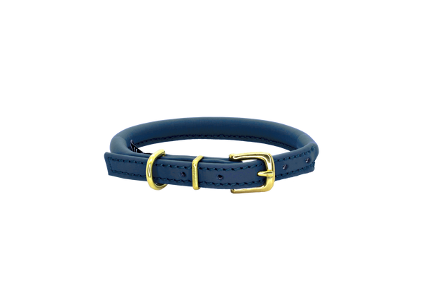 D&H Navy Blue Rolled Leather Dog Collar